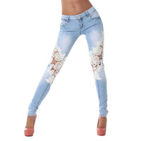 Women's Distressed Lace Crochet Stretch Jeans
