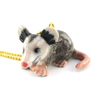 3D Porcelain Opossum Shaped Ceramic Pendant Necklace
