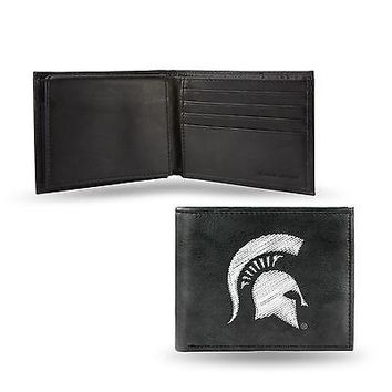 Michigan State Spartans Wallet Black LEATHER BillFold Embroidered University
