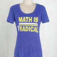 Quirky, Scholastic Mid-length Short Sleeves Squares Your Head At? Tee by ModCloth