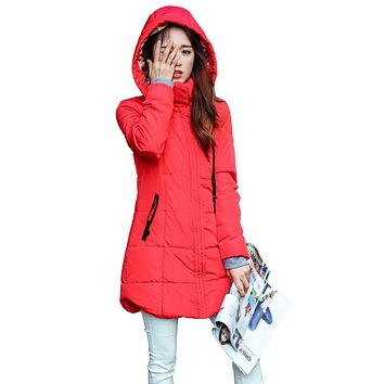 Puffy Padded Cotton Hooded Parka Coat