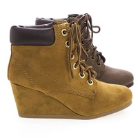 Inso Lace Up Round Toe Padded Ankle Collar Wedge Heel Booties
