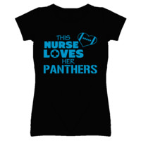 This Nurse Loves Her Panthers Football T Shirt - Carolina Panthers Team Colors