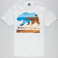 Nor Cal Beach Bear Mens T-Shirt White  In Sizes