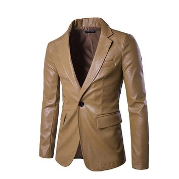 Mens Faux Leather Blazer