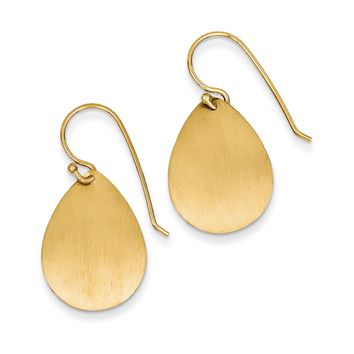 20mm Satin Teardrop Disc Earrings in 14k Yellow Gold