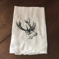 Buck Antlers - Kitchen Towel - Flour Sack Towel - Handmade