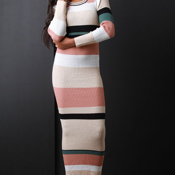 Striped Knit Long Sleeve Bodycon Maxi Dress | UrbanOG
