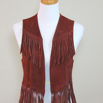 Vtg Brown Suede Leather Fringed Vest Rocker Small Medium Excellent condition