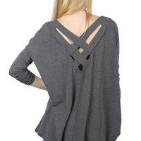 Basket Weave Grey Knit Top