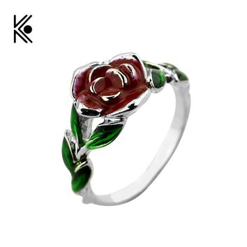 2017 Beauty and the Beast Rose Tree Rings Rose Design Engagement Ring Red Green Enamel Jewelry His Beauty/Her Beast Jewel