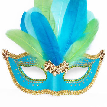 Turquoise, Green & Gold Masquerade Mask With Feathers -   Venetian Mask Decorated With Gold Leaves And Rhinestone Embellishment