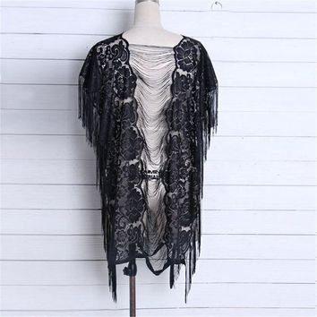 Cover ups Bikini 2018 Crochet Top Poncho Sexy Black Fringe Tunic Beach knit female Summer cover-up beach  wear Beachwear Women KO_13_1