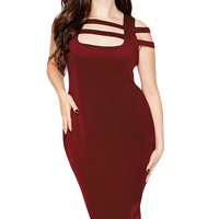 Plus Size Wine Red Caged Shoulder Bodycon Dress