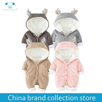 [PlayFul100]romper newborn baby clothes baby winter rompers infant Newborn Baby Girls Boys Clothes Long sleeves Hooded MD160D053