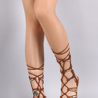Beaded Lace Up Flat Gladiator Sandal