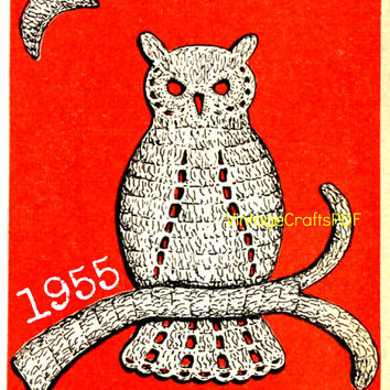 Instant Download-1955 Owl Applique Crochet Pattern-Vintage Crochet Pattern-Trim-Clothing Applique Pattern-Vintage Crochet Pattern-Crafts PDF