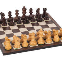 "12"" Wooden Chess Set, Dark Brown, Indoor Games"