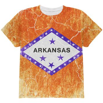 Arkansas Vintage Distressed State Flag All Over Youth T Shirt