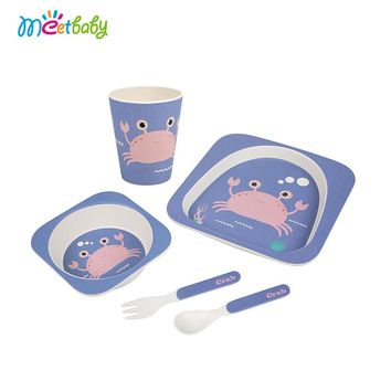 5 Pcs/Set Bamboo Fiber Children Tableware for children baby Dishes Dinnerware Set Feeding Bowl Dishes 2Spoon+1Cup+1Bowl+1Cover
