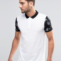 ASOS | ASOS Bandana Sleeve Print Polo in White at ASOS