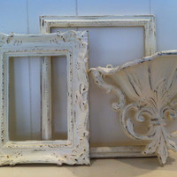 Wedding Decor Distressed Vintage Frames in Off White Shabby Chic Chippy Frames Upcycled Painted, Wedding, Home Decor