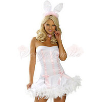 2012 Newest Strapless Bunny Girl Cartoon Halloween Costumes White and Pink