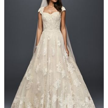 Cap Sleeve Lace Wedding Ball Gown with Beading - Davids Bridal