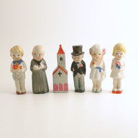 Antique Dolls Bisque Bride Groom Wedding Party Cake Toppers Wedding of the Dolls Miniature Frozen Charlotte