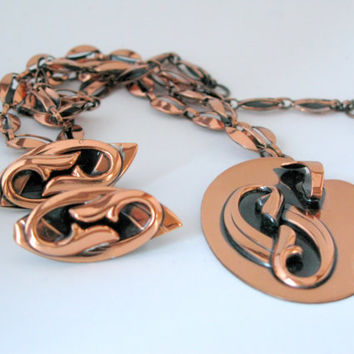 Vintage Renoir Style Modernist Copper Necklace and Earrings