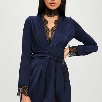 Missguided - Carli Bybel x Missguided Navy Satin Lace Wrap Dress