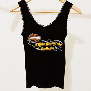"Vintage Harley Davidson ""A Ride Beyond The Ordinary"" Lace Tank Top"