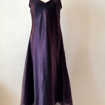 Vintage 90s 1990s Maxi Dress Kate Moss Mauve Shimmering Wedding Bridesmaid Size 14 16 Womans Clothing