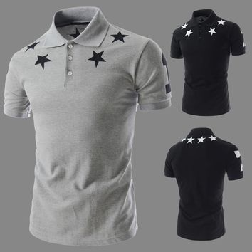 Muscle Polo With Necklace Detail Shoulder Star Print