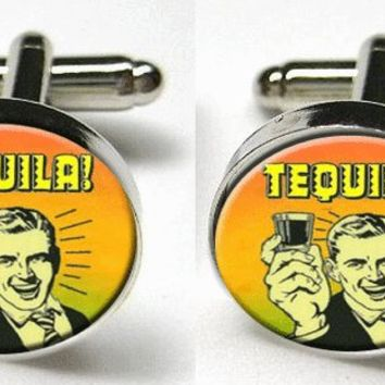 Tequila 1950s Retro Man Pop Fun Goofy Silver Bezel CuffLinks Glass Round Groomsman