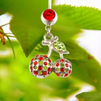 New Charming Dangle Crystal Navel Belly Ring Bling Barbell Button Ring Piercing Body Jewelry = 4804906052