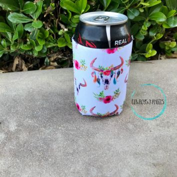 Floral Bull Can Coozie