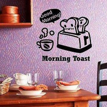 Wall Stickers Vinyl Decal Positive Decor Kitchen Good Morning Toaster (ig1016)