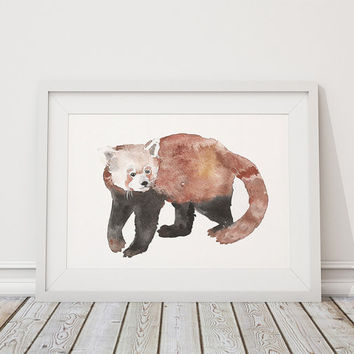 Nursery decor Watercolor art print Cute red panda poster ACW27