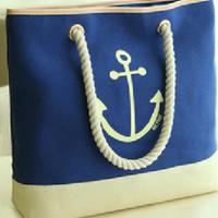 Navy Style Anchor Print Canvas Bag
