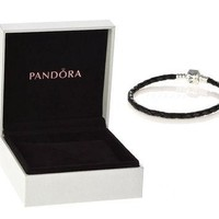 Authentic Pandora S925 Sterling Silver Black Leather Charm Bracelet w/ Box Free Shippi