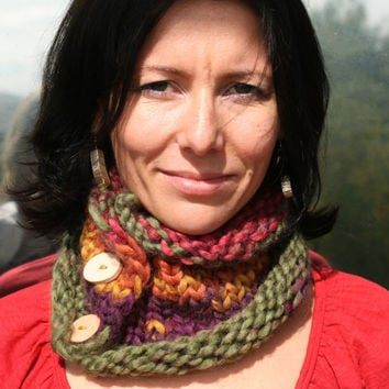 Hippy cowl hand knitted super chunky cozy fancy neck by tatoke