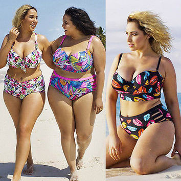 bikini 2017 Women Push Up Padded Plus Size Bikini Set swimsuit Bathing High Waist swimwear Bikini Set swimsuit Plus Size XL-5XL