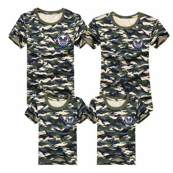 1pcs Family T Shirts 2016 Summer Family Matching Clothes Army Color Family Look T-shirt Tees For Mother Daughter Father Son Kids