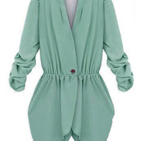 Green V Neck Single Button Ruched Long Sleeve Blazers