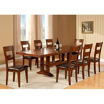1268 Hayward Dining Double Trestle Table With 6 Side Chairs
