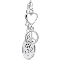 Handcrafted Peace and Love for All Double Mount Belly Ring | Body Candy Body Jewelry