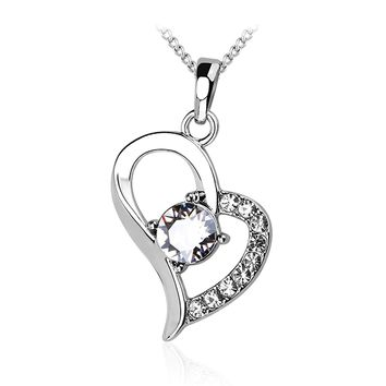 """The One"" 18K White Gold Plated Heart Pendant Necklace with Chain. Crystal Gifts for Women"
