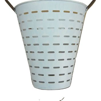 3 pc Olive Buckets Baskets Pails Metal White Washed Flowers Arrangements Wedding