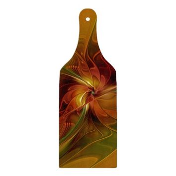 Abstract Red Orange Brown Green Fractal Art Flower Cutting Board